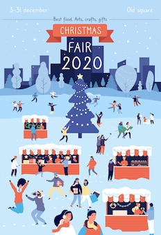 Christmas fair poster. xmas traditional bazaar in december illustration. winter holiday festival gathering invitation card. christmas fair festival, holiday traditional illustration