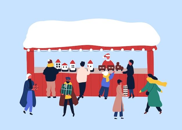 Рождественская ярмарка сувенирный киоск плоские векторные иллюстрации.