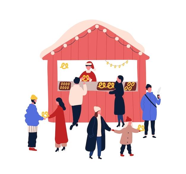 Christmas fair stall flat illustration