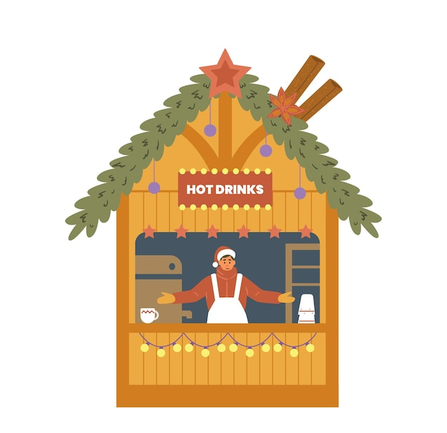 Christmas fair street food shop with seller flat vector illustration  hot drinks stall