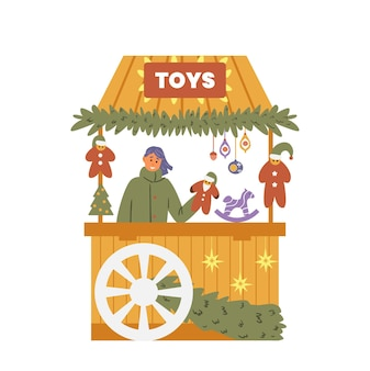 Christmas fair toys shop with seller flat vector illustration handmad toys and decorations