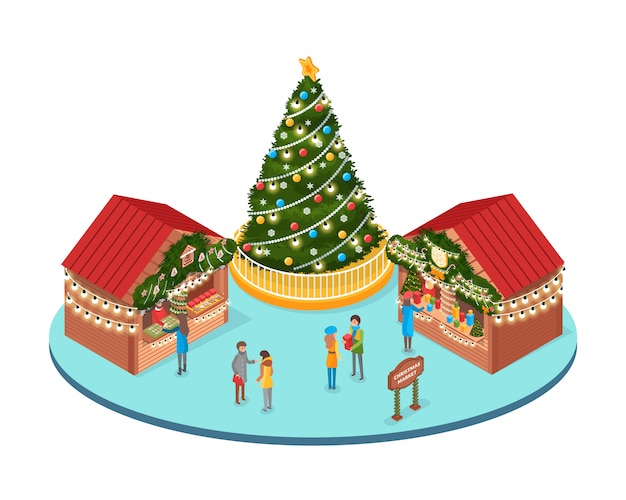 Christmas fair, winter holidays market with people