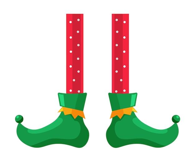 Рождественский сказочный персонаж эльфийская нога на белом фоне