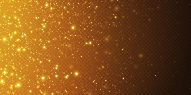 Рождественские падающие золотые огни. волшебная абстрактная золотая пыль и блики. праздничный новогодний фон. абстрактные золотые частицы и блеск на черном фоне.