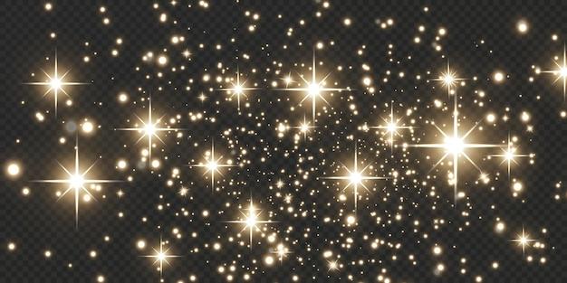 クリスマスの落下ゴールデンライト魔法の抽象的な金のほこりとまぶしさお祝いのクリスマスの背景。