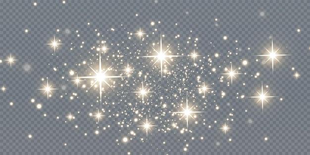 クリスマスの落下ゴールデンライト魔法の抽象的な金のほこりとまぶしさお祝いのクリスマスの背景