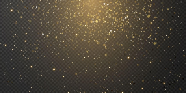 Christmas falling golden lights. magic abstract gold dust and glare. festive christmas background.