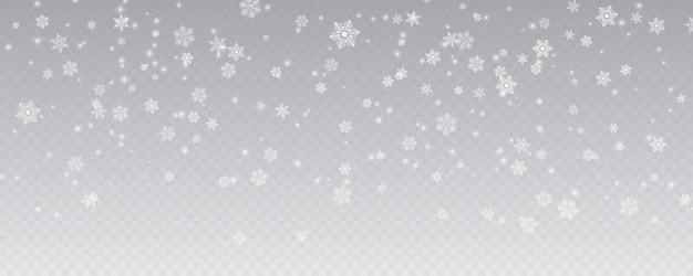 Рождество падающий снег изолированный прозрачный фон зима
