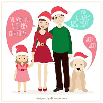 Christmas familly illustration