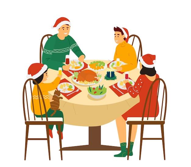 집에서 크리스마스 가족 저녁 식사.