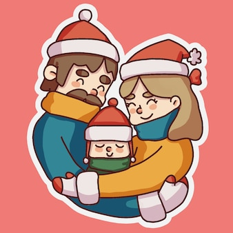 Christmas family hugging each other cute illustration