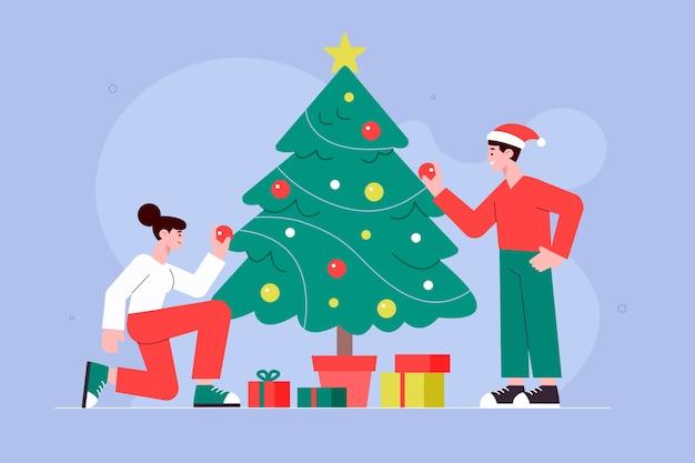 Christmas family illustration in flat design