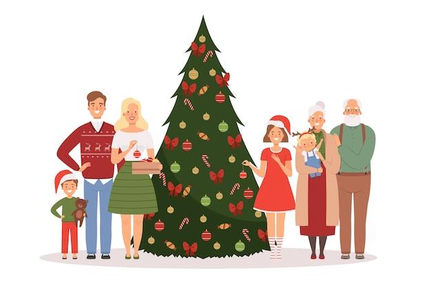 크리스마스 가족입니다. 새해 선물 벡터 만화 배경으로 크리스마스 트리 근처에 서 있는 어머니 아버지 아이들과 조부모. 녹색 나무와 선물 일러스트와 함께 크리스마스 축 하 가족