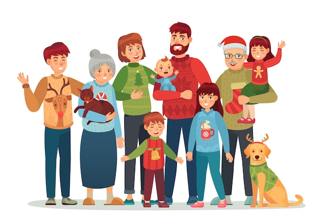 Christmas family portrait. happy xmas holiday people, big family in ugly sweaters.