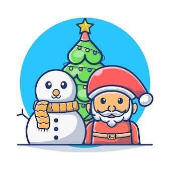クリスマス家族サンタクロースとスノーマン
