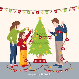 Рождественский фон с семейной сценой
