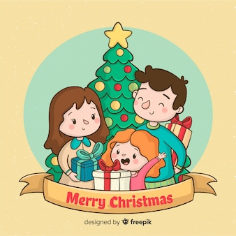 Christmas family scene background