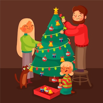 Christmas family scene concept in flat design
