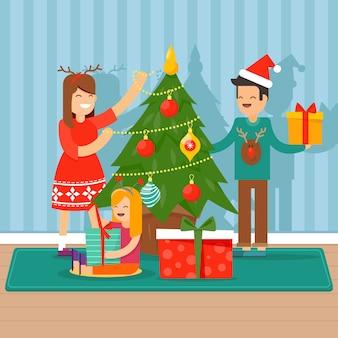 Christmas family scene concept in flat design