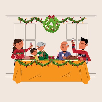 Christmas family scene concept in hand drawn