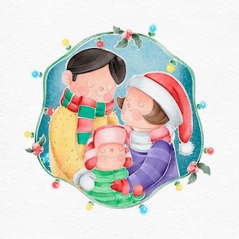 수채화에서 크리스마스 가족 장면 개념