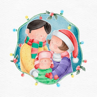 Christmas family scene concept in watercolor