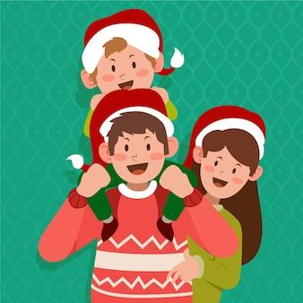 Christmas family scene in flat design