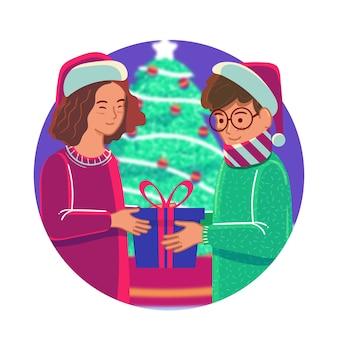 Christmas family scene illustration