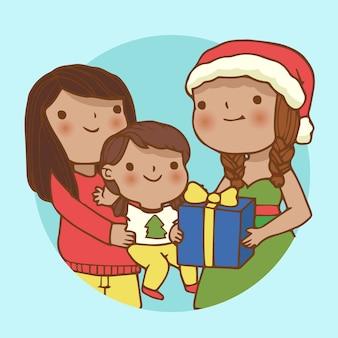Рождественская семейная сцена в рисованной