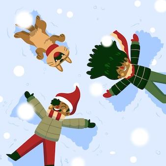 Christmas family scene playing outside
