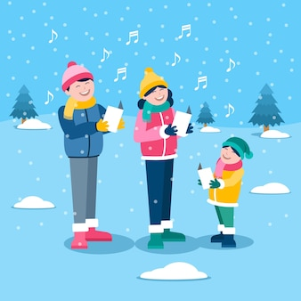 Christmas family scene singing carols in the snow