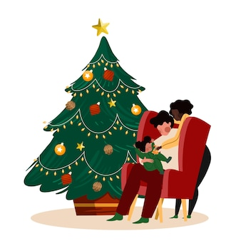 Christmas family scene with beautiful tree and people sitting in a chair