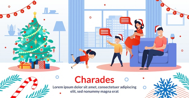 Christmas family traditions flat vector illustration