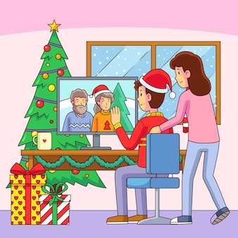 Christmas family videocall illustration with desktop