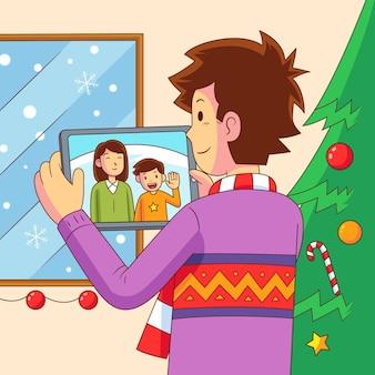 Рождественский семейный видеозвонок с рабочим столом