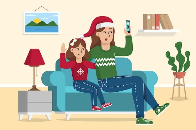크리스마스 가족 videocall 그림