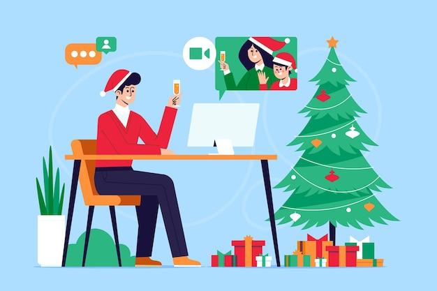 クリスマス家族のビデオ通話のイラスト