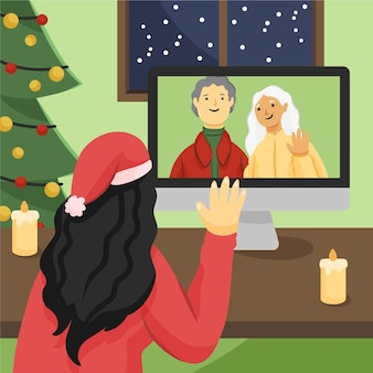 クリスマス家族のビデオコール