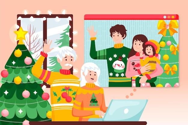 Videochiamata di famiglia di natale