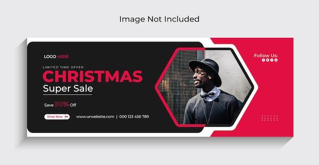クリスマスファッションセールソーシャルメディアインスタグラムウェブバナーまたはフェイスブックカバーテンプレートプレミアム