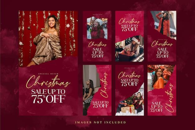 Рождественская мода 1рождественская распродажа в instagram story template для рекламы в социальных сетях