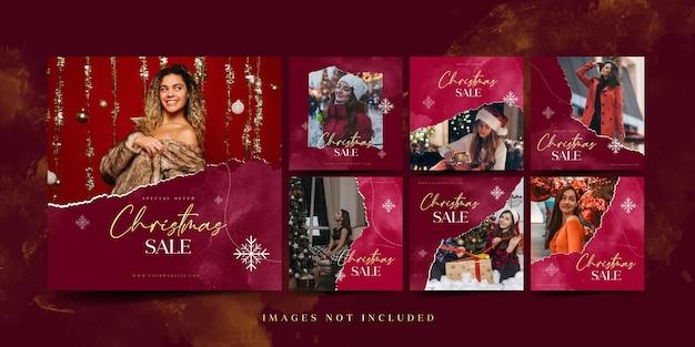 Шаблон сообщения в instagram о рождественской распродаже для рекламы в социальных сетях