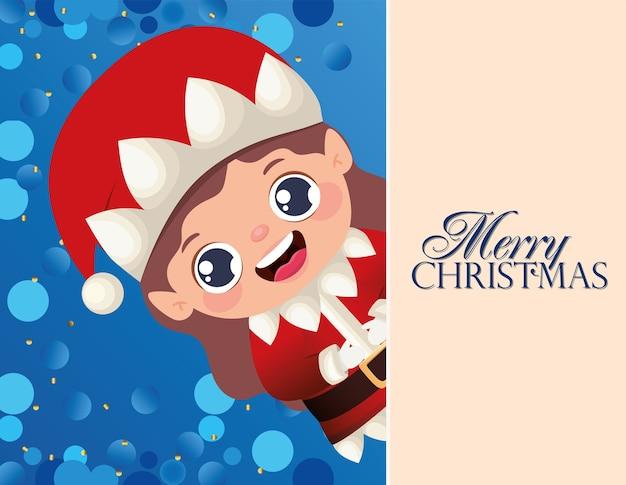 Christmas female elf  and merry christmas lettering  illustration