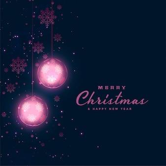 Рождественский фестиваль темный фон со светящимися шарами