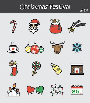 Christmas festival icon set 6