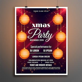 Christmas festival party flyer template with hanging balls