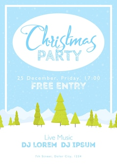 Christmas festival and party template. snow tree mountains landscape vertical background. template for holidays, concerts and parties. winter theme.