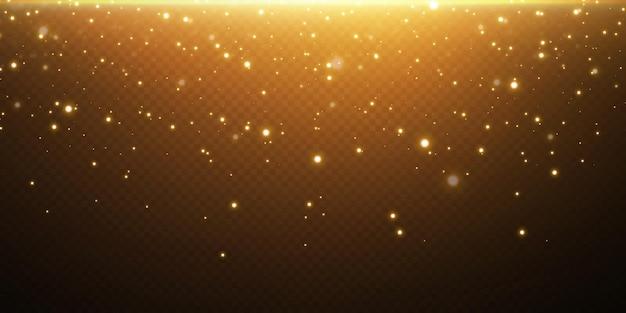 빛 색종이의 크리스마스 축제 배경입니다. 작은 빛나는 금빛 조명. 반짝이는 금 질감.