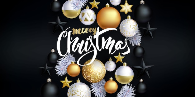 Christmas festive background with white,black and golden balls and stars