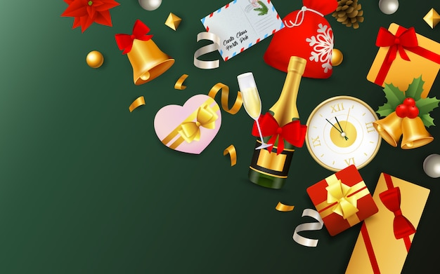 Christmas festive banner with fest symbols on green background
